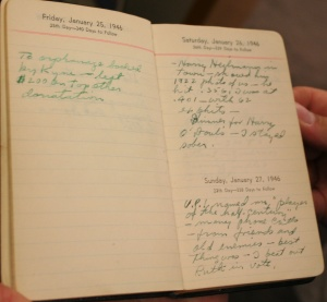 Exhibit 10: Ty Cobbs 1946 diary purchased by Major League Baseball from Barry Halper and donated to the Baseball Hall of Fame Museum in 1998. This diary was exhibited from 1999 through 2001 in the Barry Halper Gallery at the Hall of Fame. An FBI investigation in 2009 determined that the diary was a forgery. A recent comparison of the writings in this diary to the writings of Al Stump on the baseball-publication pages shown in exhibit 9 lead autograph expert Ronand B. Keurajian to conclude that Al Stump was the forger who created this diary.